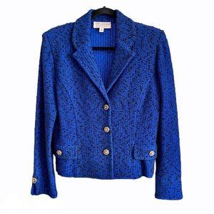 St. John Blue Knit Cardigan Blazer